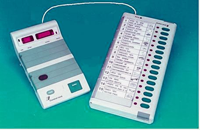 This is the image of a voting machine coupled with vote counting machine